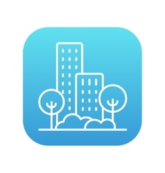 Residential building with trees line icon vector