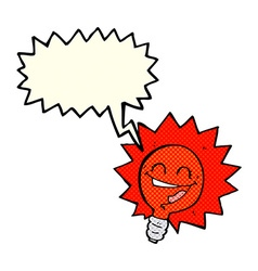 Happy flashing red light bulb cartoon with speech vector