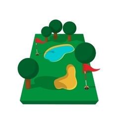 Golf course cartoon icon vector