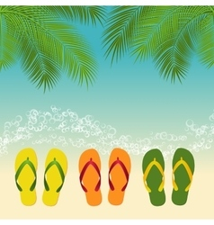 Palm flip flops template vector