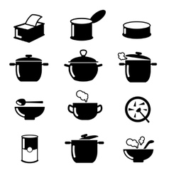 Bowl can and pot black icons set soup symbols vector