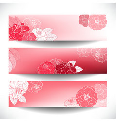 Red floral banner set vector