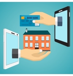Hand with credit card and hand with house vector