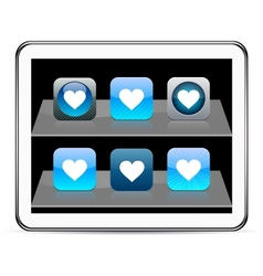 Heart blue app icons vector