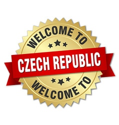 Czech republic 3d gold badge with red ribbon vector