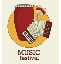 Musical festival with instruments isolated icon vector