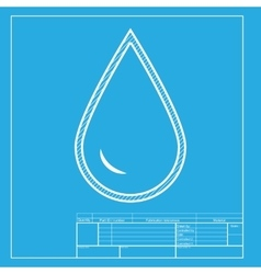 Drop of water sign white section of icon on vector