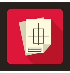 Building plan icon in flat style vector