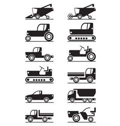 Agricultural machinery icon set vector