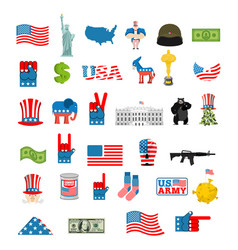 American icon set national sign of america usa vector