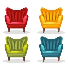 armchair soft colorful homemade set 3 vector image vector image
