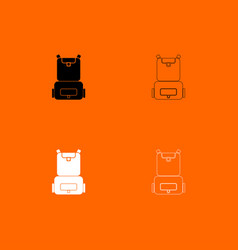 backpack black and white set icon vector image vector image