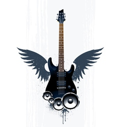 Black guitar with speakers vector