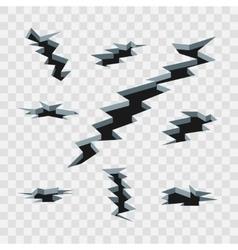 Cartoon cracks in the ground isolated on vector