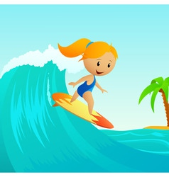 cartoon cute little girl surfing on waves vector image