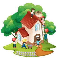 Children building little house vector