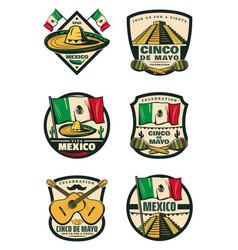 Cinco de mayo mexican holiday retro sketch icons vector