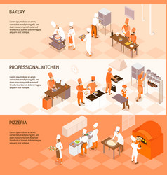 cooking horizontal isometric banners vector image vector image