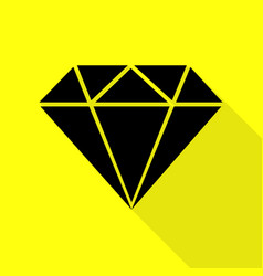 Diamond sign black icon with flat vector