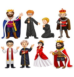 Different characters of king and priest vector image vector image