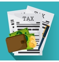Document and wallet icon Tax and Financial item vector image
