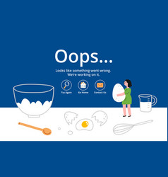 error page on kitchen background vector image vector image