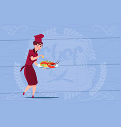 Female chef cook holding tray with lobster cartoon vector