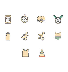 flat color running icon set vector image