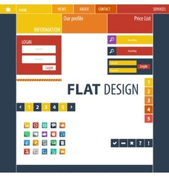 Flat Web Design elements buttons icons Templates vector image