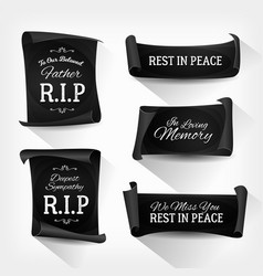Funeral rest in peace banners vector