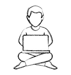 man with laptop icon vector image