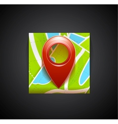 Mobile app icon - navigation map and tag symbol vector image vector image