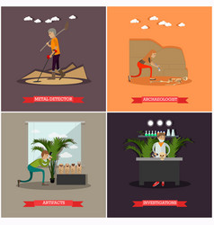 Set of archaeology concept posters in flat vector