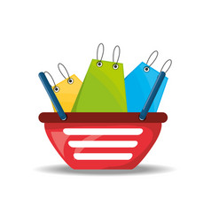 Shopping basket with bags concept vector