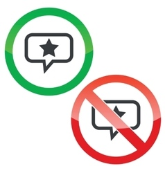 Star message permission signs vector image