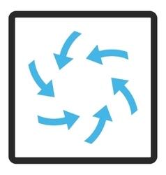 Swirl arrows framed icon vector