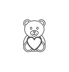 teddy bear wtih heart line icon soft toy vector image
