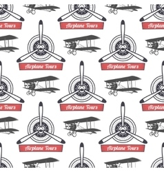 Vintage airplane tour pattern biplane propellers vector