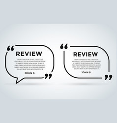 Website review quote citation blank template vector
