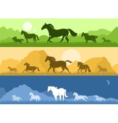 Landscapes with horses vector