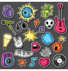 Music party kawaii sticker set musical vector