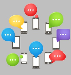 Group of modern mobile phones with speech clouds vector