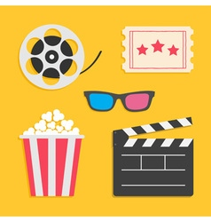 3D glasses Movie reel Open clapper board Popcorn vector image