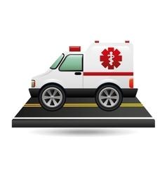 Ambulance transportation on road vector