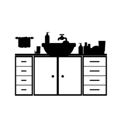 Monochrome silhouette washstand with furniture vector