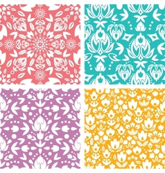 Set of four floral abstract seamless pattern vector