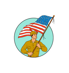 American soldier waving usa flag circle drawing vector
