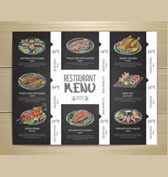 chalk drawing restaurant menu design vector image