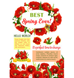 spring flower wreath for poster template design vector image