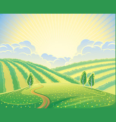 Summer rural landscape with hills and road vector